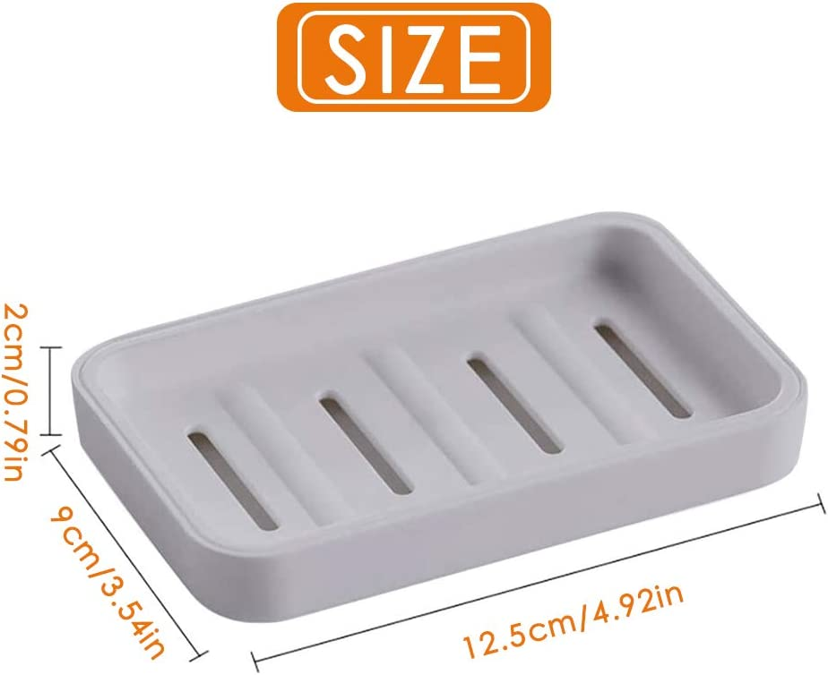 Soap Case Holder for Bathroom Shower Plastic Draining Soap Dishes with Drainage Cyleibe 2 Pack Soap Holder Grey