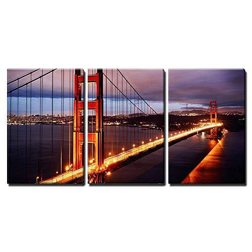 wall26-3 Piece Canvas Wall Art - Night Scene with Golden Gate Bridge and San Francisco Lights - Modern Home Decor Stretched and Framed Ready to Hang - 16