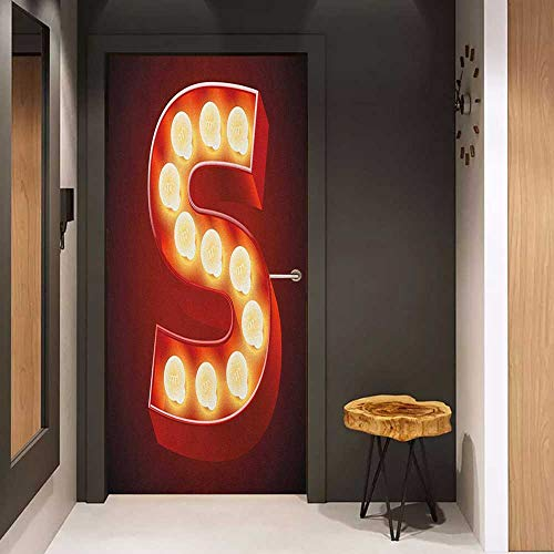Onefzc Soliciting Sticker for Door Letter S Vintage Casino Sign Capitalized Letter Vibrant Color Palette Design Mural Wallpaper W31 x H79 Vermilion Yellow Black