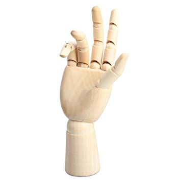 Modelo de mano de madera - TOOGOO(R)18 x 6cm Modelo de maniqui de mano derecha articulado de madera Regalo Arte Alternativos