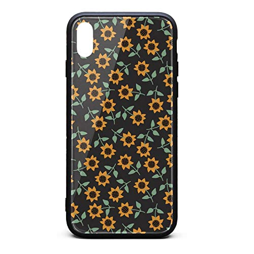 Best Phone Case for iPhone X Black Small Cute Kansas Sunflowers Rubber Frame Tempered Glass Covers Designer Shock-Absorption Skid-Proof Never Fade Mobile Cases Protective