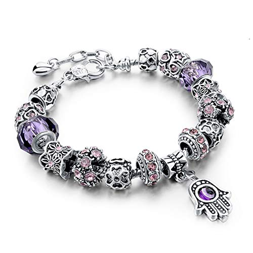 - naivety Red/Blue/Purple Hamsa Charm Bracelets for Women Crystal Beads Evil Eye Bracelets Bangles Pulseras(Adjustable,Purple)