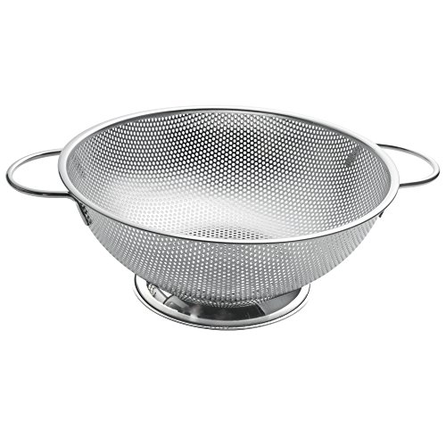 ZESPROKA Stainless Steel Micro-perforated 5-Quart Colander/Strainer with Handles and Draining Ring Base
