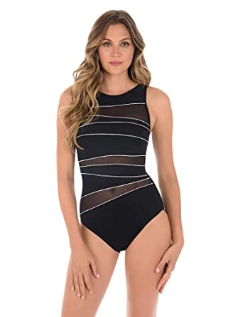 c6502a559577b Miraclesuit Women's Swimwear Prismatix Somerset High Neckline Full Bust  Support Tummy Control One Piece Swimsuit at Amazon Women's Clothing store: