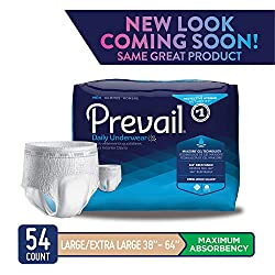 Prevail Maximum Absorbency Incontinence Underwear for Men Large/Extra Large 54 Count Breathable Rapid Absorption Discreet Comfort Fit Adult Diapers