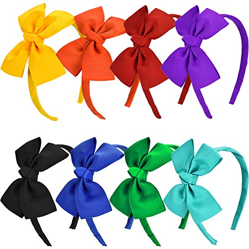 Blulu 8 Pieces Bow Tie Headband Bow Head Wraps Grosgrain Ribbon Hair Band Hair Accessories for Baby Girls Favors, 8 Colors