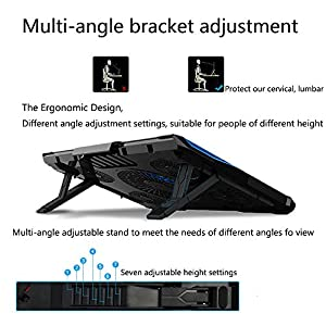 Mystery Gaming Cooling Fan Stand Powerful Laptop Ultrabook Cooler Pad Computer Cooling Mat-Fits Up to 17'' & Smaller Laptops Ultrabooks Notebook-Strong Durable ABS & Metal Mesh-Keep Your Laptop Cool
