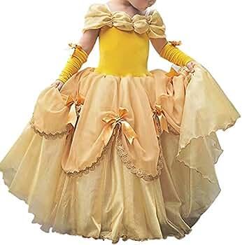 IWEMEK Niñas Bella y la Bestia Vestido de Carnaval Disfraz de Princesa Belle Fuera del Hombro Vestir Traje de Halloween Navidad Cumpleaños Pageant ...