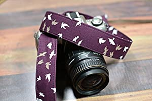Taupe and White Birds on Plum - dSLR Camera Strap