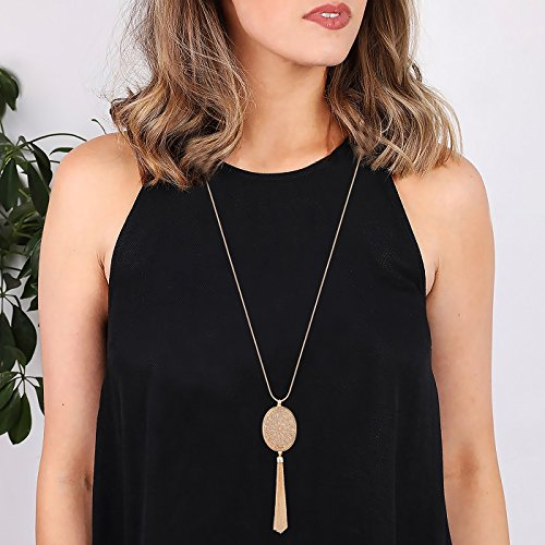 Long Necklaces for Women Disk Oval Pendant Necklace Bohemia Tassel Necklace Set Fashion Y Necklaces Statement Jewelry (Oval-Gold) by LPON (Image #1)