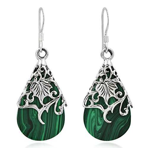 Green Mother Of Pearl Shell (Floral Vine Ornated Teardrop Green Mother of Pearl Shell .925 Sterling Silver Fish Hook Earrings)
