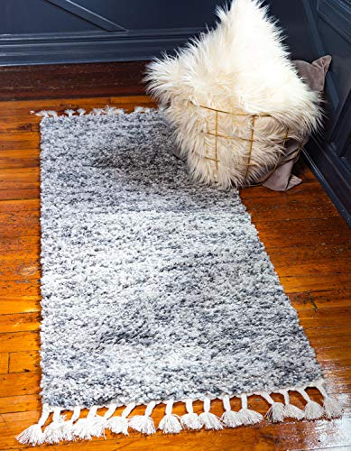 (Unique Loom Hygge Shag Collection Solid Plush Cozy Gray Runner Rug (3' x 8'))