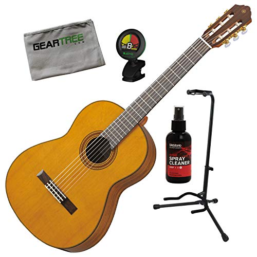 Yamaha CG162C Natural Solid Cedar Top Classical Guitar w/Polish, Stand, Cloth, - Yamaha Stand Classical