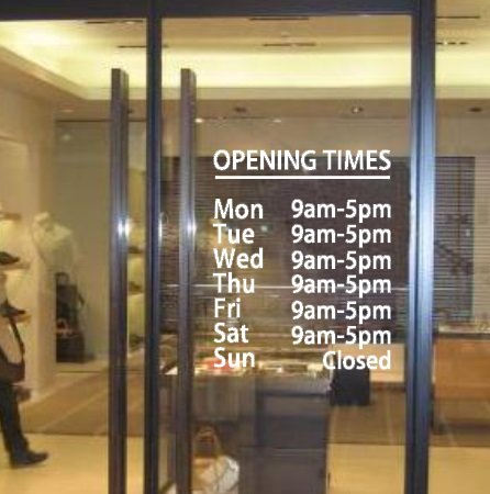 Vc designs ltd tm personalised customised opening hours opening times show window vinyl lettering