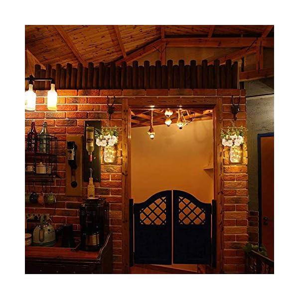 MMTX Applique da Parete Rustica, Mason Jar Sconce Decorazione da Parete con luci LED Strip Design per Giardino di casa Decorazioni Natalizie (2pcs) 6 spesavip