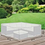 Premium Schutzhülle für Eck-Loungegruppe aus Polyester Oxford 600D - lichtgrau - von 'mehr Garten' - Größe M (237 x 237 cm)
