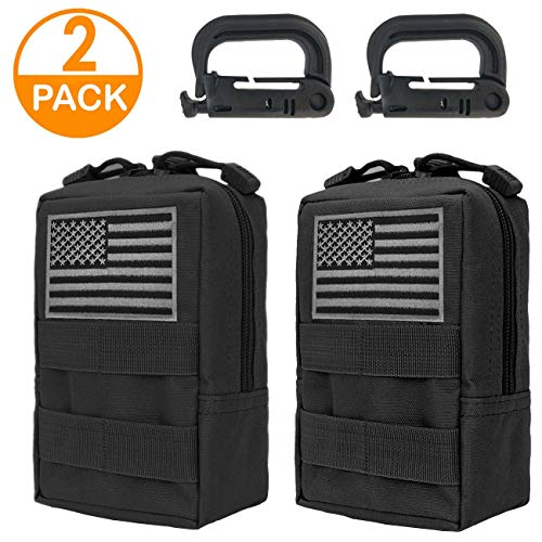 Genleas 2 Pack Tactical Molle Pouches Compact EDC Multi-Purpose Compact Tactical Waist Bags Utility Gadget Small Waist Bag Pack with D-Ring Hook (Black)
