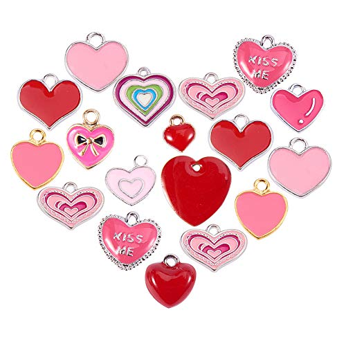 PH PandaHall 48PCS 12 Styles Pink Heart Enamel Pendants Alloy Enamel Pendants Charms DIY Bracelet Necklace Making ()