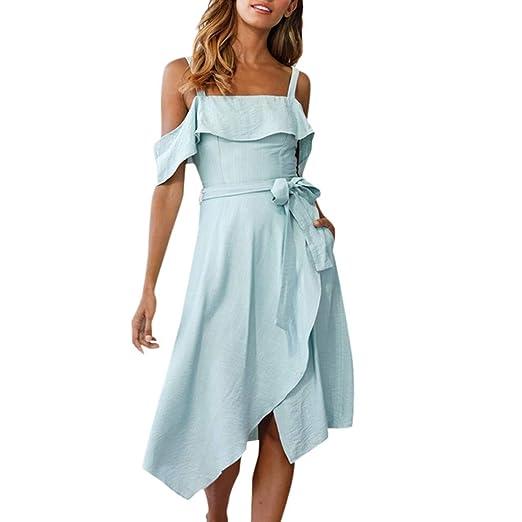 6793a10b01 Womens Off Shoulder Ruffled Sleeveless Flowy Midi Dress Tie Waist Irregular  Hem Solid Party Dresses (