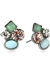Sorrelli Sky Blue Peach Classic Crystal Cluster Antique Silver-Tone Stud Earrings