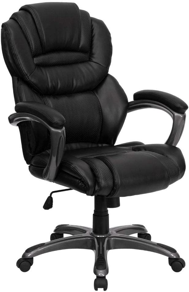 Flash Furniture High Back Black LeatherSoft Executive Swivel Ergonomic Office Chair with Arms