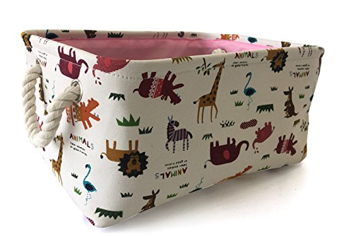 Rectangular Storage Basket Collapse Canvas Fabric Cartoon Storage Cube Bin With Handles for Organizing Home/Kitchen/Kids Toy/Office/ Closet/Shelf Baskets(Animals)