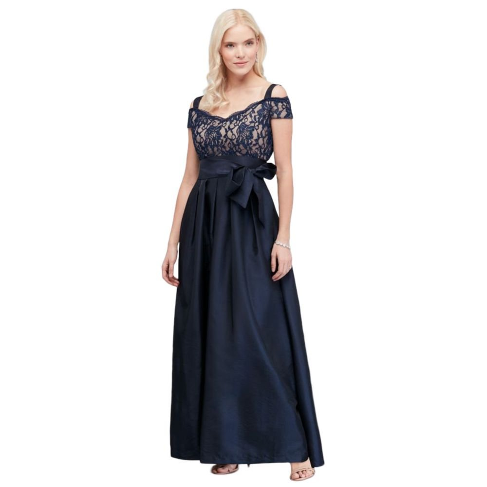 Pleated Taffeta Mother of Bride/Groom Dress with Glitter Lace Bodice Style. by David's Bridal