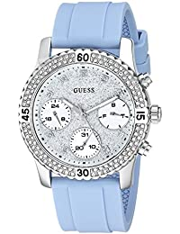 Womens Stainless Steel Silicone Crystal Accented Watch, Color: Blue/Silver-Tone (
