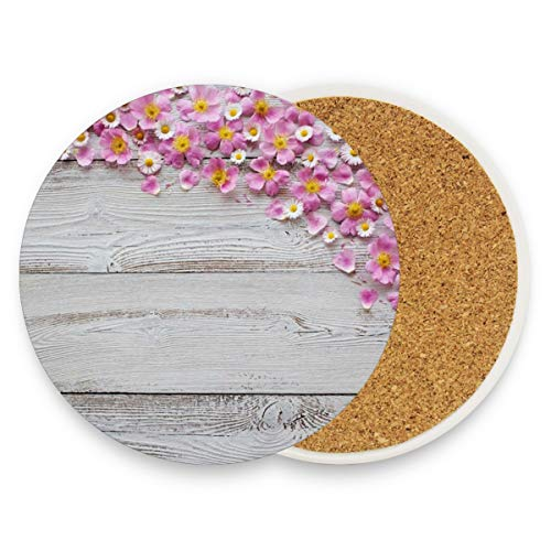 Drink Coasters, Set of 2 Ceramic Stone Coasters with Cork Base, Protect Furniture from Dirty and Scratched, Stone Coasters Mats Suitable for Kinds of Mugs and Cups Chrysanthemum And Cherry ()