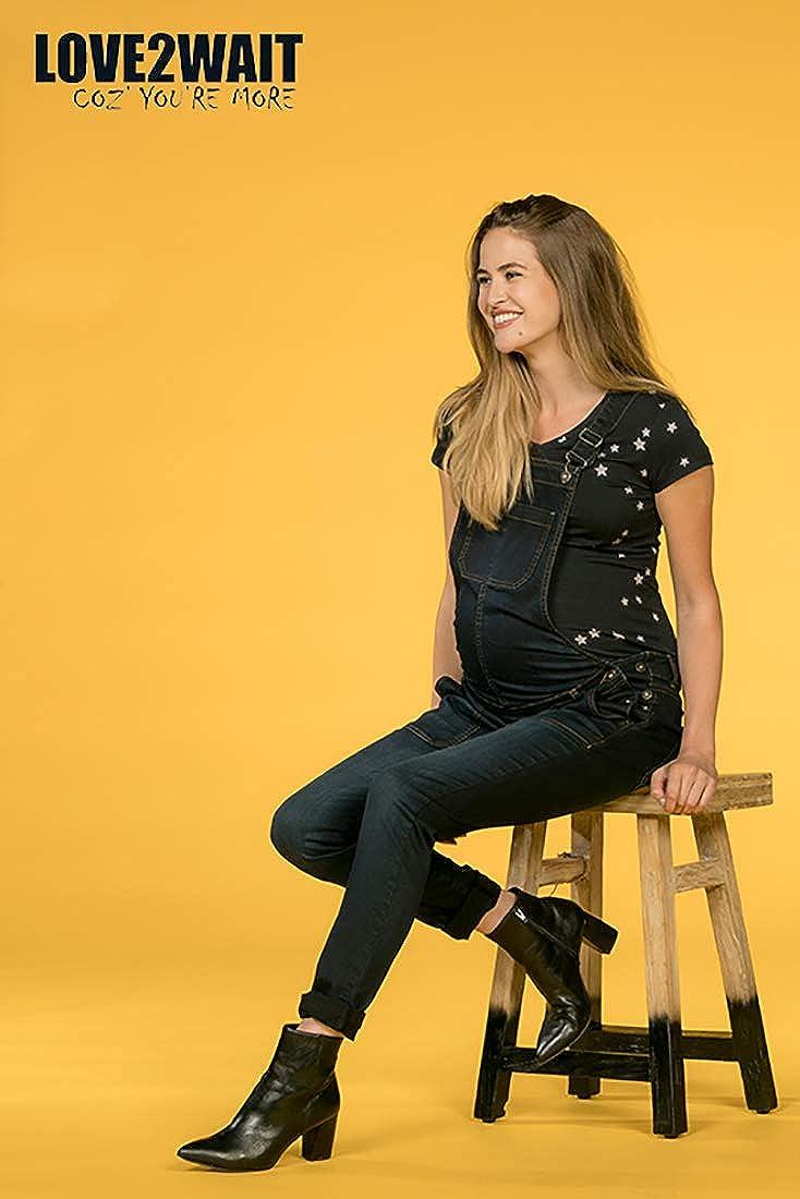 Love2Wait Womens Dungarees Jeans Stonewash Maternity Fashion C142006