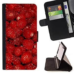 BullDog Case - FOR/Samsung Galaxy Note 3 III / - / Fruit Macro Raspberry Red /- Monedero de cuero de la PU Llevar cubierta de la caja con el ID Credit Card Slots Flip funda de cuer