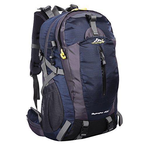 HWJIANFENG 40L Mochilas de Senderismo Hombre Portatil Impermeable de Nilon Mochilas de Excursion para Viajes Mochilas Unisex de Ciclismo Azul oscuro