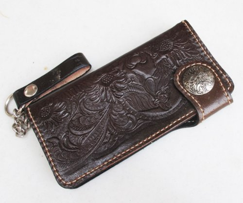 Biker Leather Goods - High Quality Cowhide Leather Pattern Biker / Trucker Clutch Men Wallet / Purse Bifold With Safty Chain for Man In Brown / Horse with Flower Design [Cow Clutch_1087]
