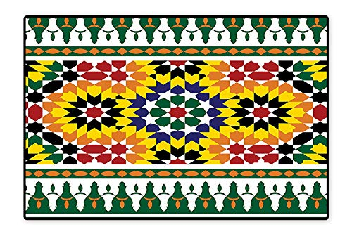 Water-Repellent Rugs Vibrant Old Fashion Indie African Tribal Pattern with Eastern Influences Print Anti Bacterial 6'6