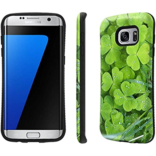 Galaxy S7 Edge / GS7 Edge Case, [NakedShield] [Black Bumper] Heavy Duty Shock Proof Armor Art Phone Case - [Green Square Stones] for Samsung Galaxy S7 Sales