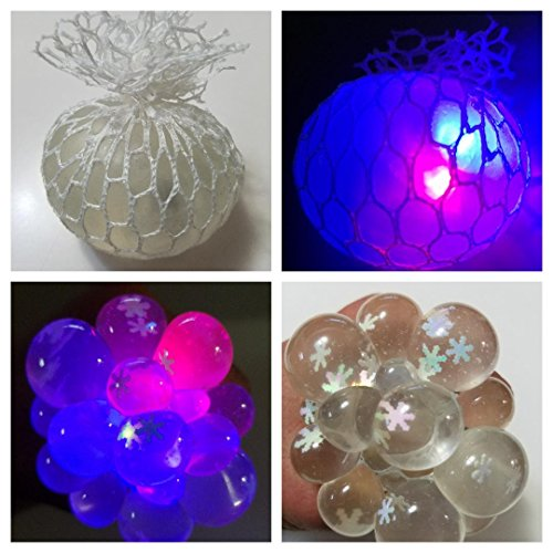 Snowflakes Ball (LED Light Squishy Mesh Anti Stress Reliever Grape Ball Crystal Clear Slime With Snowflake Autism Mood Squeeze Kid Toy Gift)