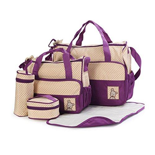 Ancdream 5tlg. Schwangerschaft Tasche Baby Windel Wickeltasche Multifunktionale Mama Handtasche púrpura