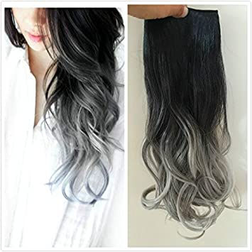 One piece clip in hair extensions wavy black to silver grey one piece clip in hair extensions wavy black to silver grey pmusecretfo Choice Image