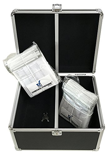 ((1) CheckOutStore Aluminum CD/DVD Media Hanging Sleeves Storage Box (Black / Holds 300 Discs))