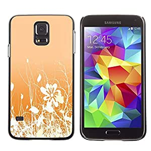 Stuss Case / Funda Carcasa protectora - Floral Pattern Orange White Flowers Field - Samsung Galaxy S5 SM-G900