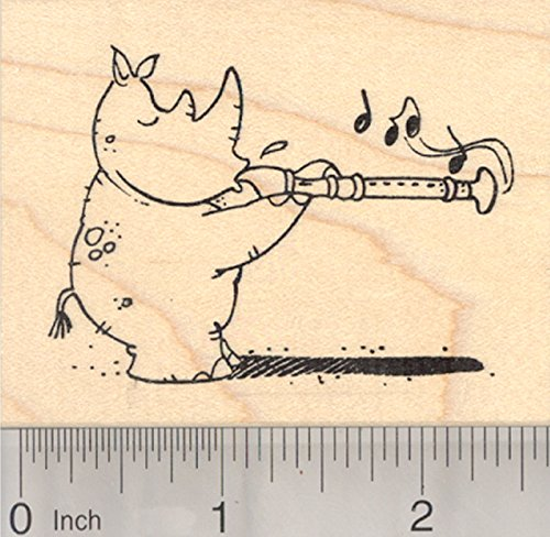(Rhino with Recorder Rubber Stamp, Musical Rhinoceros, Back to School )