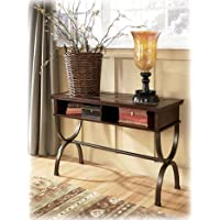 Ashley Furniture Signature Design - Zander Console Sofa Table - 2 Storage Cubbies - Vintage Casual - Medium Brown
