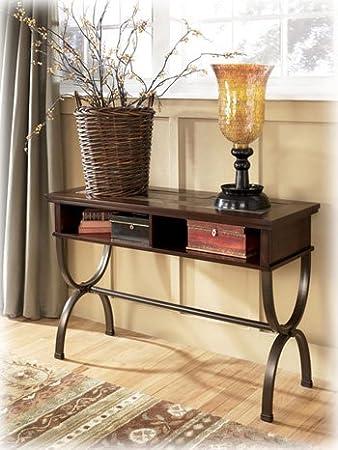 Ashley Furniture Signature Design   Zander Console Sofa Table   2 Storage  Cubbies   Vintage Casual