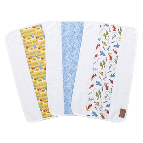 Trend Lab Dr. Seuss by One Fish, Two Fish 3 Pack Jumbo Burp Cloth Set, Red, Green, Blue and White ()