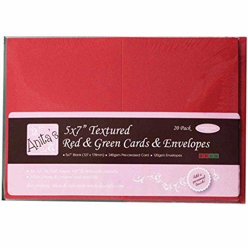 docrafts Anita's Textured Cards/Envelopes, 5 by 7-Inch, Red and Green, 20-Pack by DOCrafts