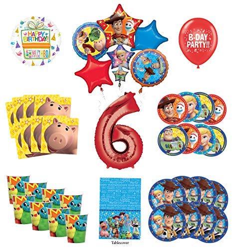 トイストーリー 6歳の誕生日パーティー用品 16人のゲスト用デコレーションキット ウッディ バズライトイヤー フレンズ バルーンブーケ   B07RZXGBSP