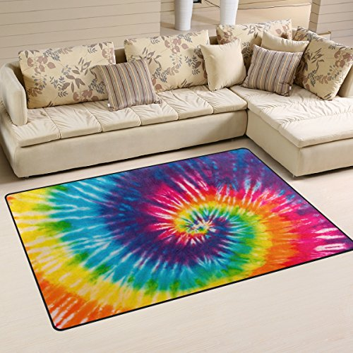 Yochoice Non-slip Area Rugs Home Decor, Vintage Colorful Tie Dye Rainbow Swirl Floor Mat Living Room Bedroom Carpets Doormats 31 x 20 inches]()