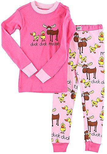 Duck Duck Moose Pink Kids Long Sleeve Pajama Sets by LazyOne | Fun Soft Animal Pajamas (2T) -