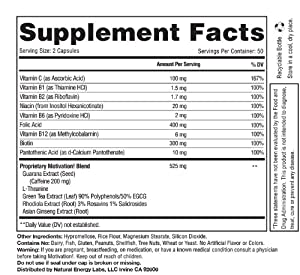 Motivation!: Herbal Caffeine + Energy Vitamin Supplement (W/ 200mg of Herbal Caffeine, Ginseng, Green Tea, Guarana & More, 100 V-pills)
