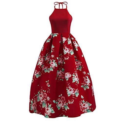 Price comparison product image Orangeskycn 2018 New Women Floral Printed Sleeveless Halter Party Evening Beach Long Maxi Dress (Wine, XL)